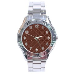 Coloured Line Squares Plaid Triangle Brown Line Chevron Stainless Steel Analogue Watch by Alisyart