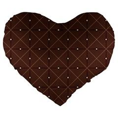 Coloured Line Squares Plaid Triangle Brown Line Chevron Large 19  Premium Heart Shape Cushions by Alisyart