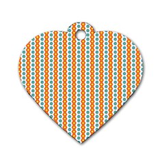Sunflower Orange Gold Blue Floral Dog Tag Heart (two Sides) by Alisyart