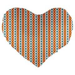 Sunflower Orange Gold Blue Floral Large 19  Premium Heart Shape Cushions by Alisyart