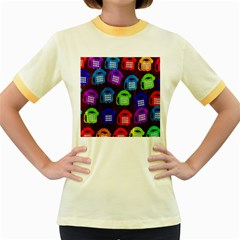 Grunge Telephone Background Pattern Women s Fitted Ringer T Shirts
