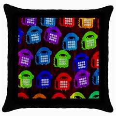 Grunge Telephone Background Pattern Throw Pillow Case (black) by Amaryn4rt