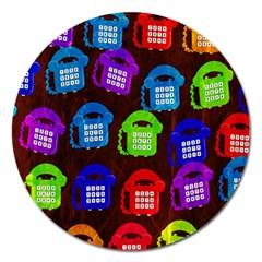 Grunge Telephone Background Pattern Magnet 5  (round) by Amaryn4rt
