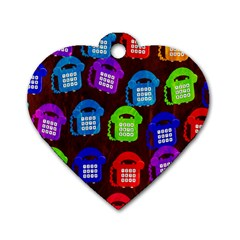 Grunge Telephone Background Pattern Dog Tag Heart (two Sides) by Amaryn4rt