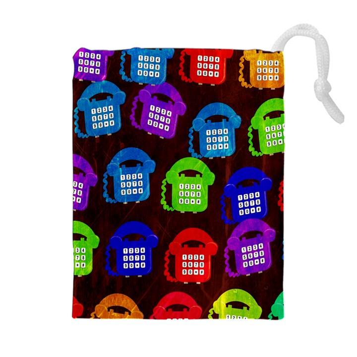 Grunge Telephone Background Pattern Drawstring Pouches (Extra Large)