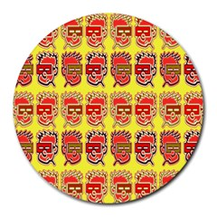 Funny Faces Round Mousepads by Amaryn4rt