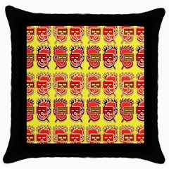 Funny Faces Throw Pillow Case (black) by Amaryn4rt