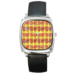 Funny Faces Square Metal Watch