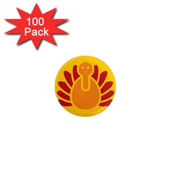 Animals Bird Pet Turkey Red Orange Yellow 1  Mini Magnets (100 Pack)  by Alisyart