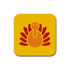 Animals Bird Pet Turkey Red Orange Yellow Rubber Square Coaster (4 Pack)  by Alisyart