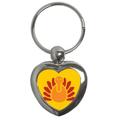 Animals Bird Pet Turkey Red Orange Yellow Key Chains (heart)  by Alisyart