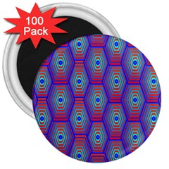 Red Blue Bee Hive Pattern 3  Magnets (100 Pack) by Amaryn4rt