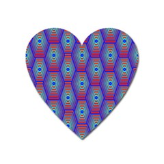 Red Blue Bee Hive Pattern Heart Magnet by Amaryn4rt