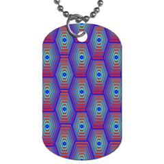 Red Blue Bee Hive Pattern Dog Tag (one Side) by Amaryn4rt