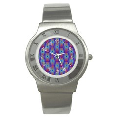 Red Blue Bee Hive Pattern Stainless Steel Watch by Amaryn4rt