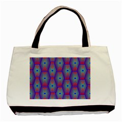 Red Blue Bee Hive Pattern Basic Tote Bag by Amaryn4rt