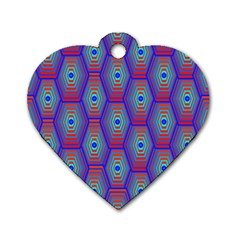 Red Blue Bee Hive Pattern Dog Tag Heart (one Side) by Amaryn4rt