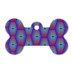 Red Blue Bee Hive Pattern Dog Tag Bone (two Sides) by Amaryn4rt