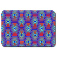 Red Blue Bee Hive Pattern Large Doormat  by Amaryn4rt