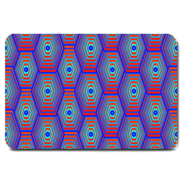 Red Blue Bee Hive Pattern Large Doormat