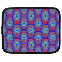 Red Blue Bee Hive Pattern Netbook Case (xxl)  by Amaryn4rt