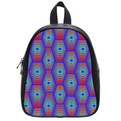 Red Blue Bee Hive Pattern School Bags (small)  by Amaryn4rt
