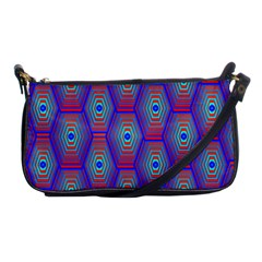 Red Blue Bee Hive Pattern Shoulder Clutch Bags by Amaryn4rt