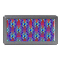Red Blue Bee Hive Pattern Memory Card Reader (mini) by Amaryn4rt