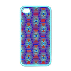 Red Blue Bee Hive Pattern Apple Iphone 4 Case (color) by Amaryn4rt