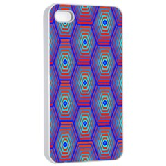 Red Blue Bee Hive Pattern Apple Iphone 4/4s Seamless Case (white) by Amaryn4rt