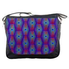 Red Blue Bee Hive Pattern Messenger Bags by Amaryn4rt