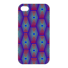 Red Blue Bee Hive Pattern Apple Iphone 4/4s Premium Hardshell Case by Amaryn4rt