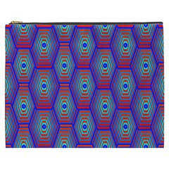 Red Blue Bee Hive Pattern Cosmetic Bag (xxxl)  by Amaryn4rt