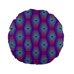 Red Blue Bee Hive Pattern Standard 15  Premium Round Cushions