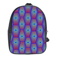 Red Blue Bee Hive Pattern School Bags (xl)  by Amaryn4rt