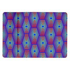 Red Blue Bee Hive Pattern Samsung Galaxy Tab 10 1  P7500 Flip Case by Amaryn4rt