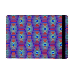 Red Blue Bee Hive Pattern Ipad Mini 2 Flip Cases by Amaryn4rt