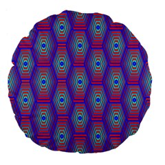 Red Blue Bee Hive Pattern Large 18  Premium Flano Round Cushions by Amaryn4rt