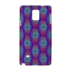Red Blue Bee Hive Pattern Samsung Galaxy Note 4 Hardshell Case by Amaryn4rt