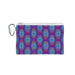 Red Blue Bee Hive Pattern Canvas Cosmetic Bag (s) by Amaryn4rt