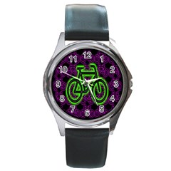 Bike Graphic Neon Colors Pink Purple Green Bicycle Light Round Metal Watch by Alisyart