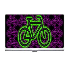 Bike Graphic Neon Colors Pink Purple Green Bicycle Light Business Card Holders by Alisyart