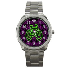 Bike Graphic Neon Colors Pink Purple Green Bicycle Light Sport Metal Watch by Alisyart