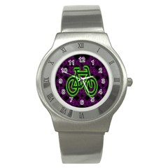Bike Graphic Neon Colors Pink Purple Green Bicycle Light Stainless Steel Watch by Alisyart