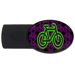 Bike Graphic Neon Colors Pink Purple Green Bicycle Light Usb Flash Drive Oval (4 Gb) by Alisyart