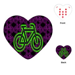 Bike Graphic Neon Colors Pink Purple Green Bicycle Light Playing Cards (heart)  by Alisyart