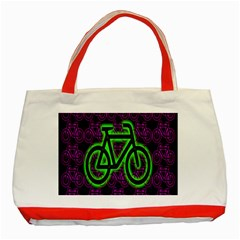 Bike Graphic Neon Colors Pink Purple Green Bicycle Light Classic Tote Bag (red) by Alisyart