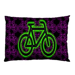 Bike Graphic Neon Colors Pink Purple Green Bicycle Light Pillow Case by Alisyart