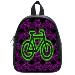 Bike Graphic Neon Colors Pink Purple Green Bicycle Light School Bags (small)  by Alisyart