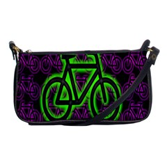 Bike Graphic Neon Colors Pink Purple Green Bicycle Light Shoulder Clutch Bags by Alisyart